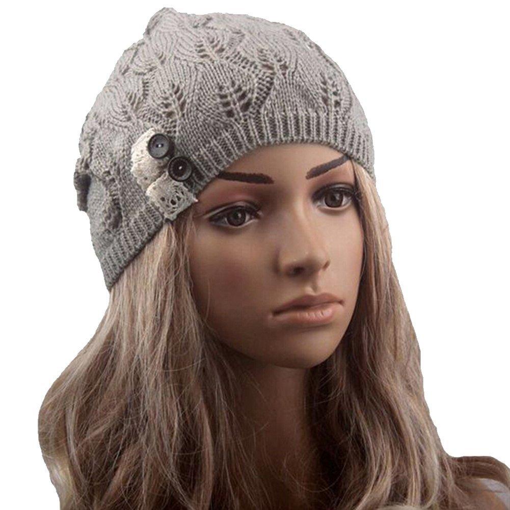 ddf00965d Womens Fashion Lightweight Cutout Crochet Knit Beret Beanie Hat with Side  Button