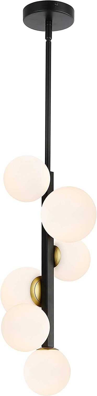 Light Society LS-C414-BK-FR Trieste 6 Pendant Light Black//Frosted