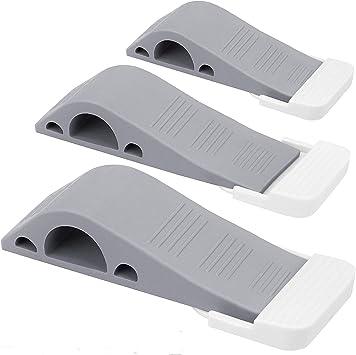Door Stopper Heavy Duty Door Stop Wedge Premium Rubber Door Stops Pack of 4 for Home and Office Works on All Floor Surfaces Prevent Lock-Outs Grey with Free Bonus Holders
