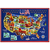 "Smithsonian Ultimate USA Map Educational Rug 5'3""x7'5"