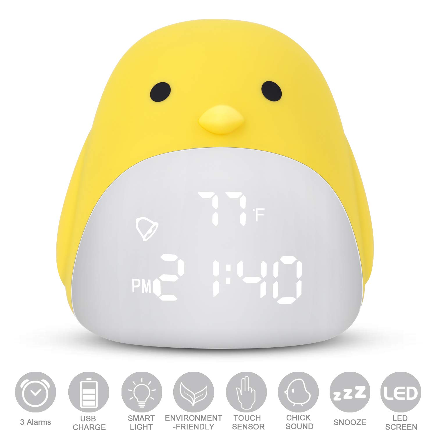 DAYOO Kids Alarm Clock, Digital Clock for Kids, Cute Chick Alarm Clock for Girls Boys, Kids Night Light Clock