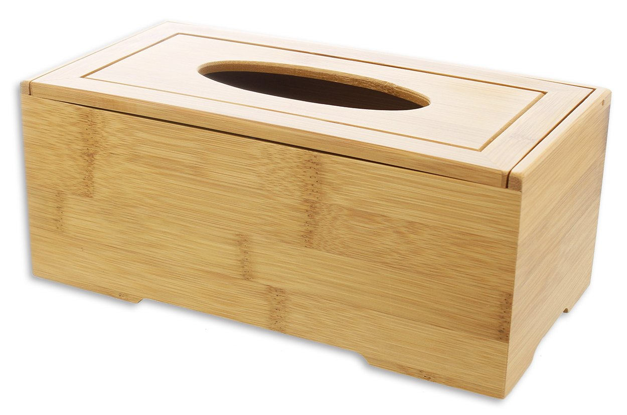 Le Juvo Bamboo Tissue Box Cover - Holds Most Rectangular Tissue Boxes, Modern Look and Finish - Wood Carved Design - 9.45 x 4.92 x 3.74 Inches