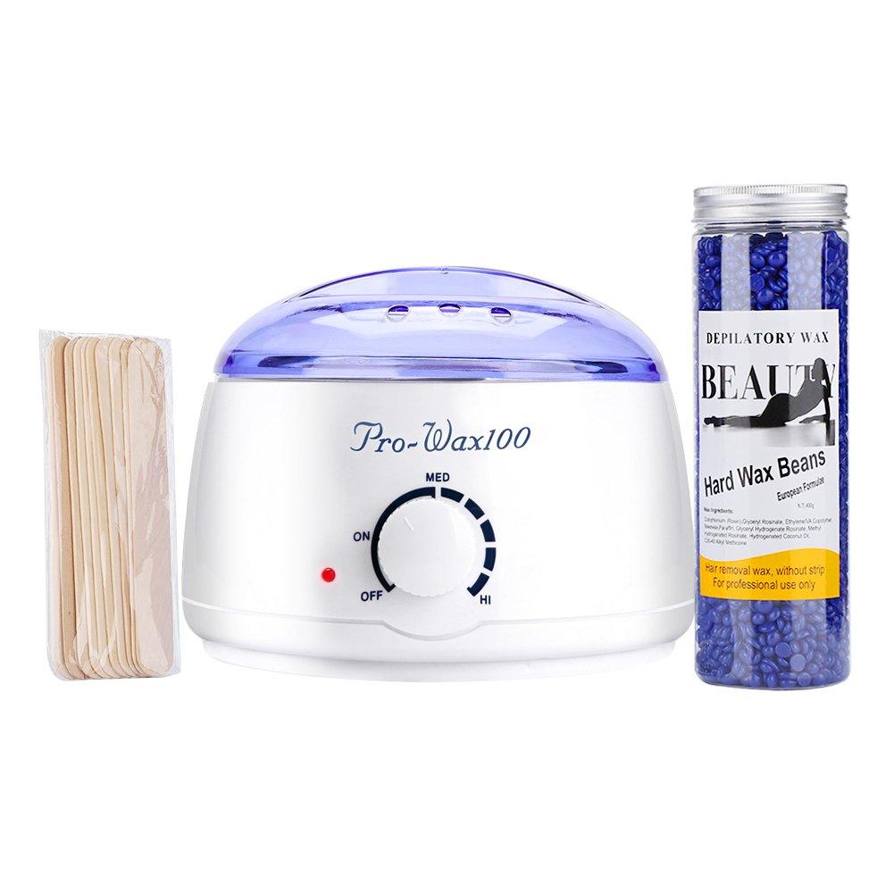 Wax Warmer Hair Removal Kit Electric Wax Melter Hot Wax Warmer Hot Film + 400g Depilatory Hard Wax Beans for Bikini Leg Hair Remover Solid Waxed(Camomile) Sonew