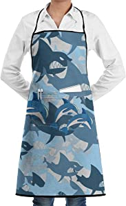 Shark Wrath Bite Teeth Apron Lace Unisex Mens Womens Chef Adjustable Polyester Long Full Black Cooking Kitchen Aprons Bib with Pockets for Restaurant Baking Crafting Gardening BBQ Grill