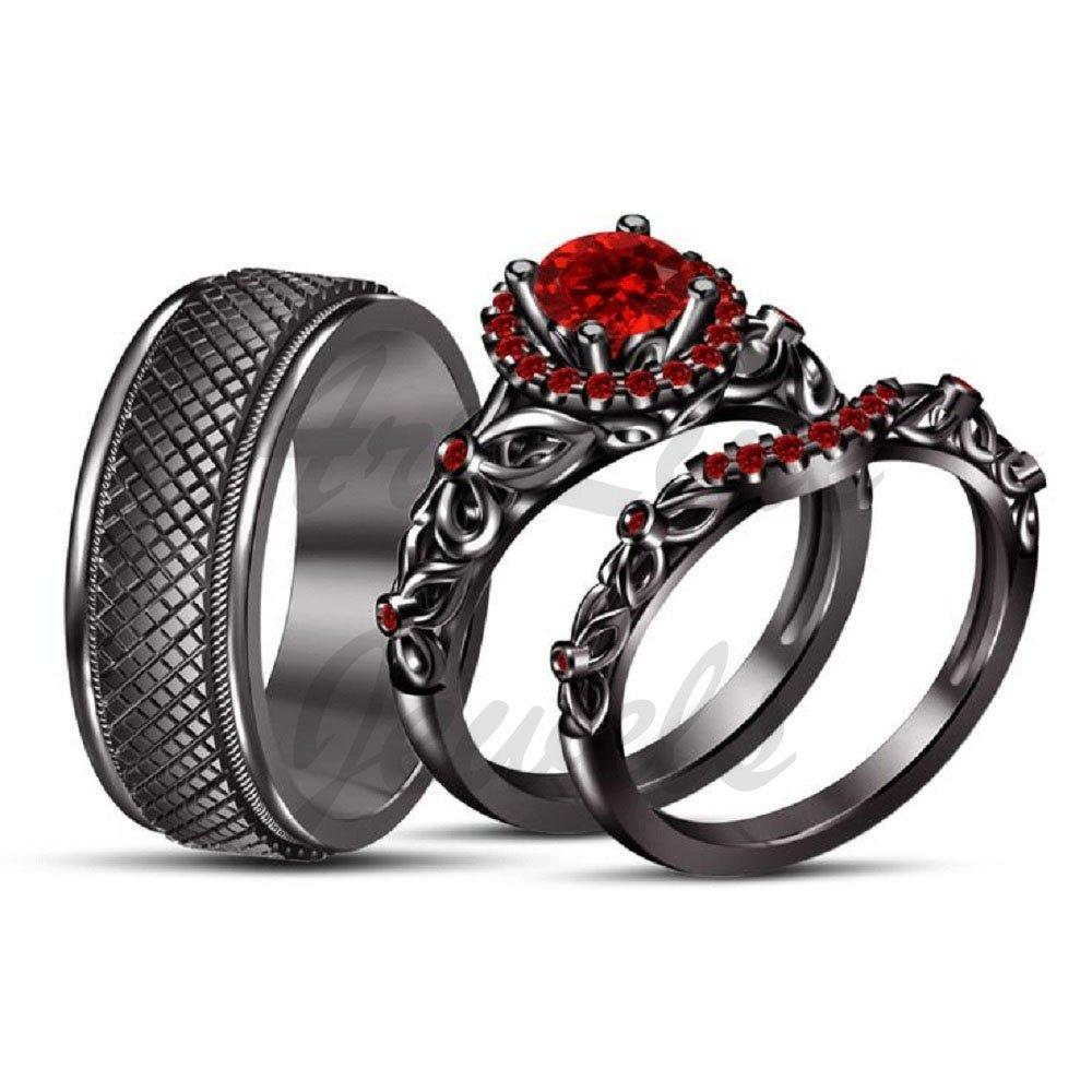 ArtLine Jewels 14K Black Gold 2.00CT Round Red Garnet Men's Wedding Ladies Engagement Trio Ring Set