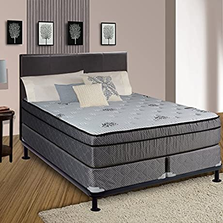 Spring Solution Foam Encased 8 Eurotop SOFT Mattress White Brown Fabric Stretch Knit With Split 8 Wood Fundation Box Spring Size Cal King