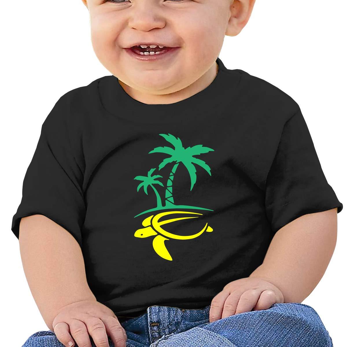 Hawaiian Palm Tree and Sea Turtle Baby Girl Newborn Short Sleeve T Shirts 6-24 Month Cotton Tops