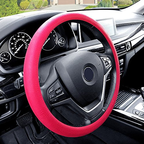 FH Group FH3001MAGENTA Magenta Steering Wheel Cover (Silicone Snake Pattern Massaging grip in Color-Fit Most Car Truck Suv or Van)