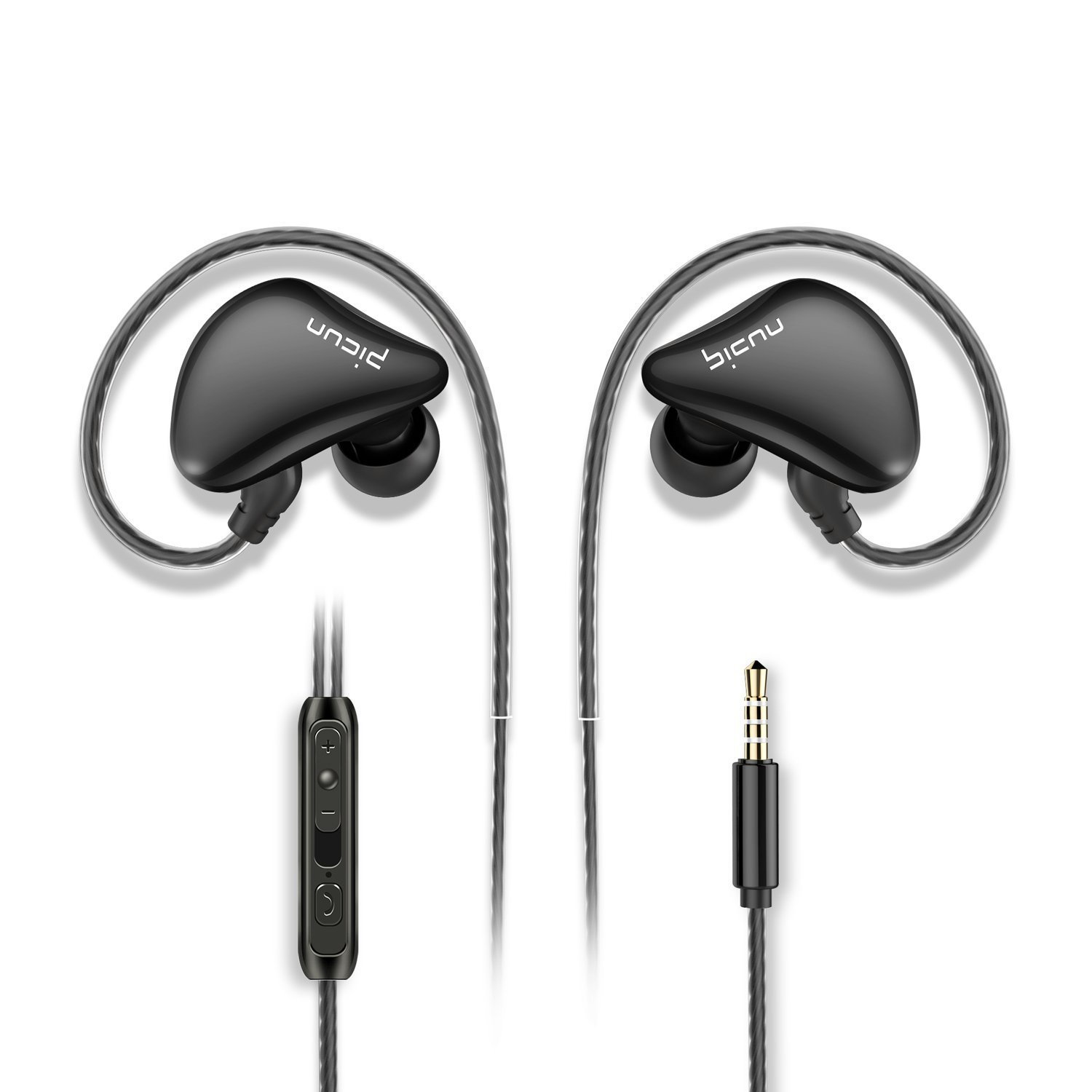 Picun S6 Sports Earbuds In Ear Headphones with Microphone&Volume Control for Running Gym Workout Jogging,Earphones for iPhone iPad iPod Tablets Android Smartphones Laptop Tablets MP3/4(Pure Black)