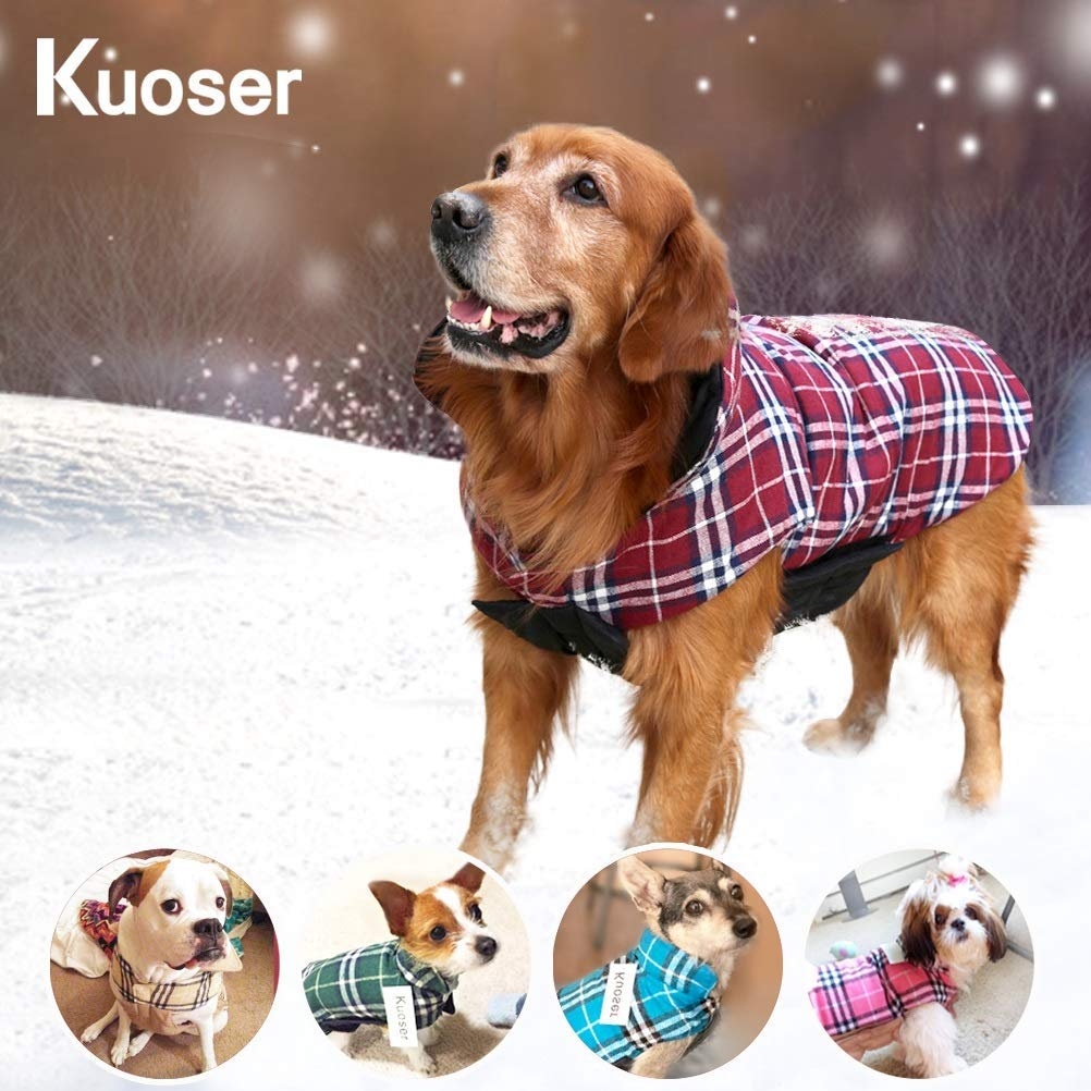 SCPET Plaid Dog Winter Coat Premium Waterproof Windproof Reversible Double Decker Thick Warm Dog Vest Apparel for Cold Snow Weather Dog Jacket for Small Medium Large Dogs with Collar