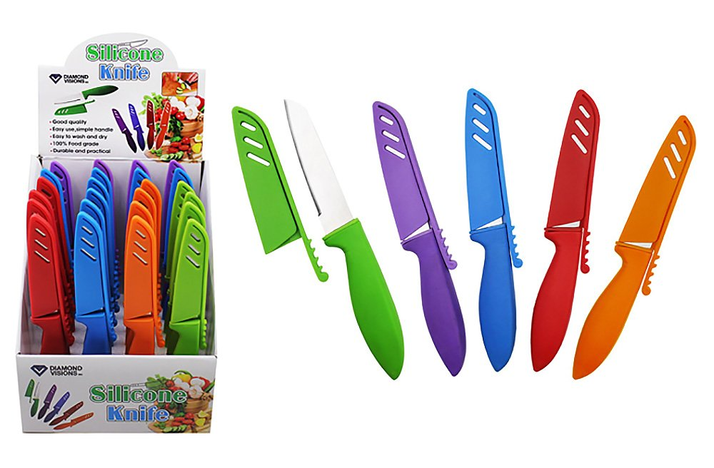 Diamond Visions 11-1810 Covered Knife with Silicone Grip MultiPack in Assorted Colors (3 Knives)