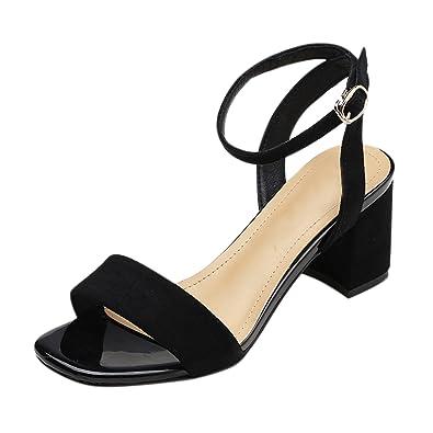 3f9949a11b38 Frestepvie Women s Chunky Heel Sandals Summer Ankle Strap Peep Toe Slipper  Shoe Buckle Cut Out Block Mid Wedge Espadrilles Pumps Size  Amazon.co.uk   Shoes   ...