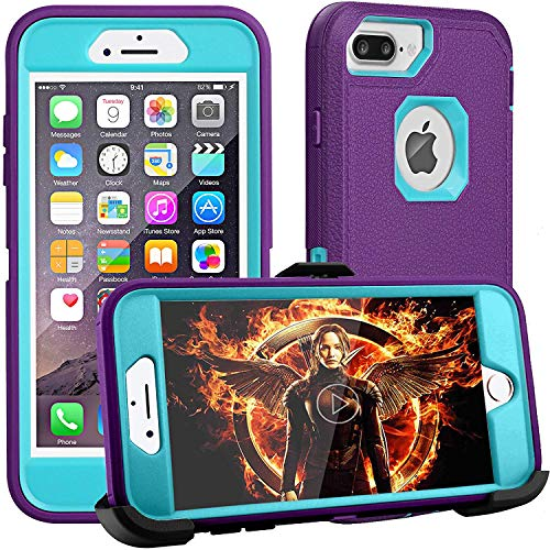 iPhone 8 Plus Case,iPhone 7 Plus Case,iPhone 6 Plus Case,FOGEEK[Dust-Proof]Belt-Clip Heavy Duty Kickstand Cover[Shockproof] PC+TPU for Apple iPhone 7 Plus,iPhone 6/6s Plus(Purple and Blue)