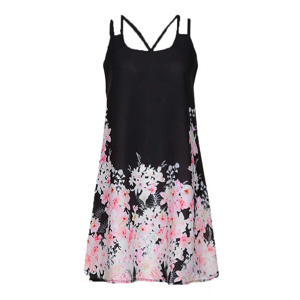 04047ee4491 2019 New Womens Vintage Bohemia Summer Dress Sleeveless Double Shoulder  Strap Printed Short Mini Dresses Plus Size at Amazon Women s Clothing store
