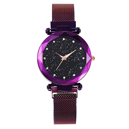 ZXMBIAO Reloj De Pulsera Las Mujeres Imán De Malla Loop Sky Starry Watch Mujeres Relojes De Pulsera De Cuarzo De Superficie Geométrica, Púrpura: Amazon.es: ...