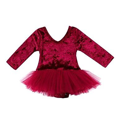 ef754b17f59b Amazon.com  Baby Girl s Romper Dress Wine Red Soft Velvet Long ...