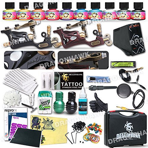 Professional Complete Tattoo Kit 2 Top Rotary Machine Gun 10 Color Ink Needle Power Supply