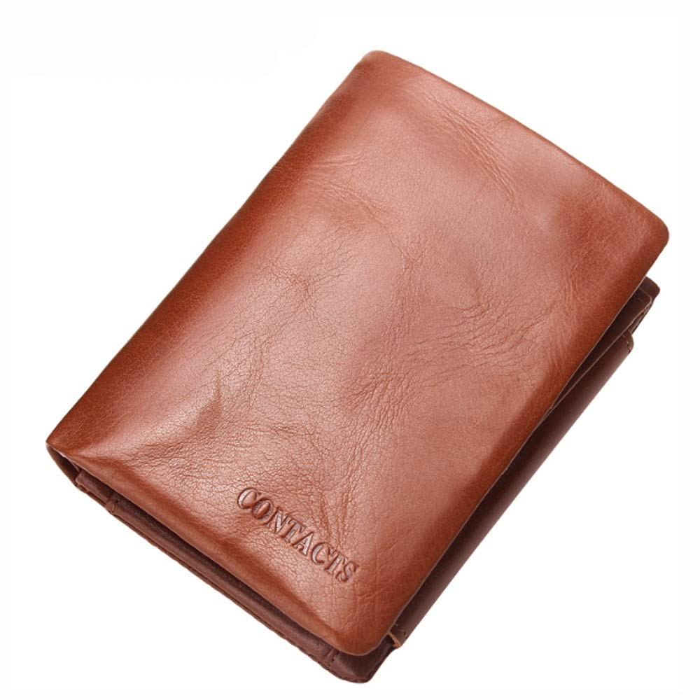 MY Wallet Cowhide Purse Casual Short Oil Wax Leather Wallet Tri-fold Bag for Men Color : Brass, Size : S