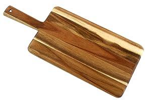Villa Acacia Urban Wood Paddle Board and Bread Board, Modern Design - 17 x 7 Inch