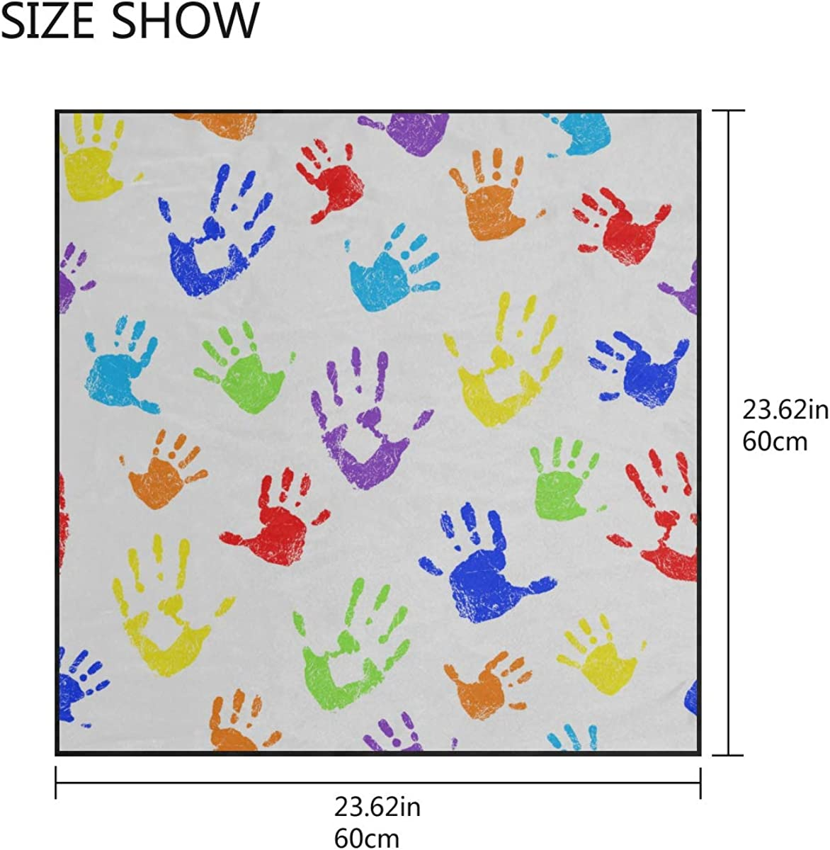 Soft Polyester Silk Scarfs For Girls Fashion Print Lovely Colorful Hand Prints Hair And Scarf Hair Scarf Bandana Girl Head Scarf Multiple Ways Of Wearing Daily Decor