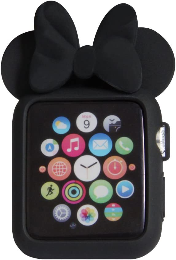 Navor Soft Silicone Protective Case with Cartoon Mouse Ears Compatible for Apple Watch 38mm Series 1 2 3 [Black]