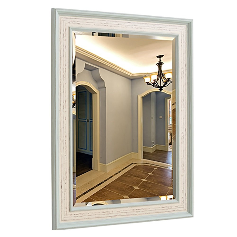 B 60x80cm GUOWEI Mirror Bathroom Wall-Mounted Makeup Dressing Hanging Retro Rectangle Framed 2 Colours