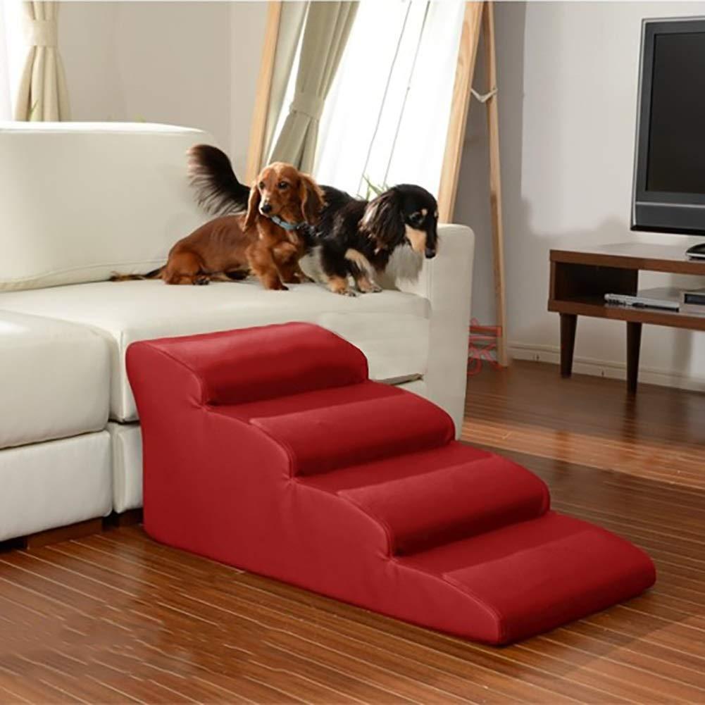 XUEYAN Escaleras para Perros de 4 escalones Rampas para Mascotas Grandes Pasos medianos para Camas Altas y sofás Altos, PU Impermeable, Carga máxima: 45 kg ...