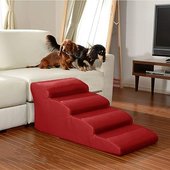 Perros Escaleras escalones Escalera para Perros 4 Pasos Escalera Cama Alta, sofá de Cuero PU Rampa festoneada para Cama, sofá, Perros pequeños y Viejos ...