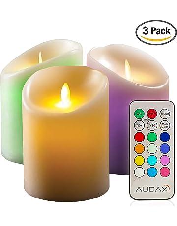 5a665f5f977 AUDAX 3 x Velas de LED Decorativas Eléctricas de 100% Cera Real