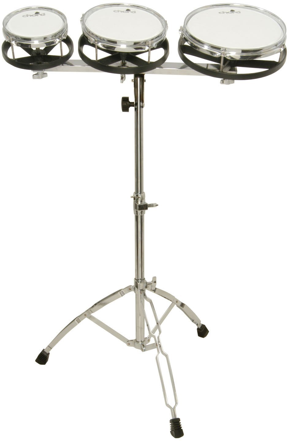 Z9V49 MUSICAL INSTRUMENT SET OF 3 ROTOTOMS WITH FOLDING TRIPOD STAND