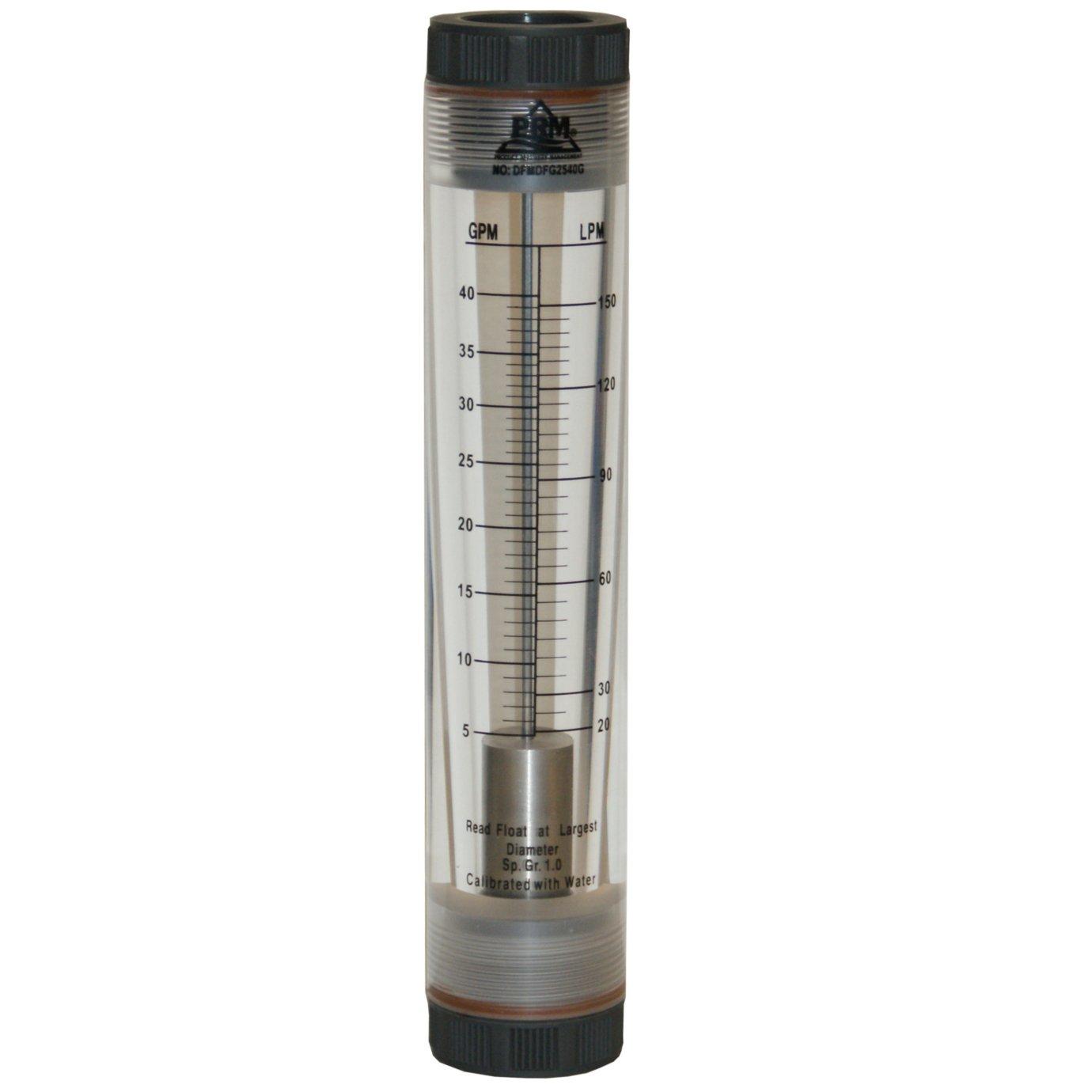 5-40 GPM WATER ROTAMETER FLOW METER; 1'' NPT; VITON SEALS;UV RESISTANT