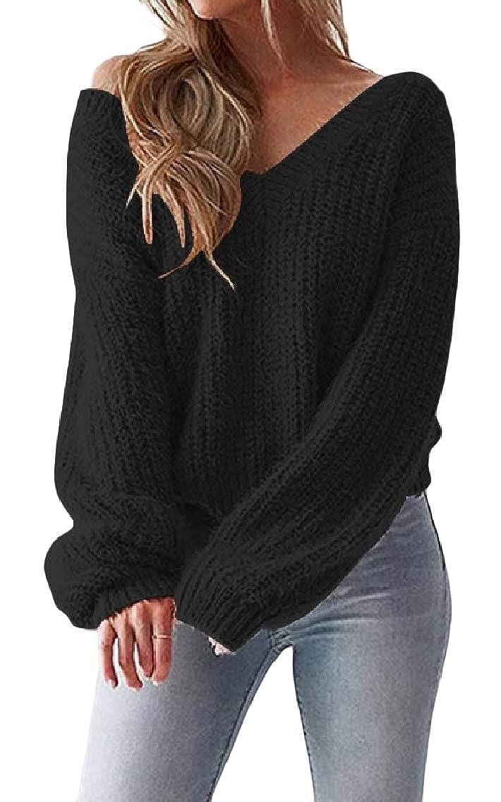 Black EGod Womens Open Back Solid Knitting VNeck Relaxed LongSleeve Sweater