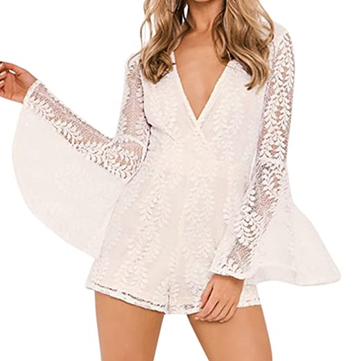 9fffe00162b Image Unavailable. Image not available for. Color  Rambling Women New Sexy  V Neck Long Bell Sleeve Lace Decor Rompers Jumpsuit