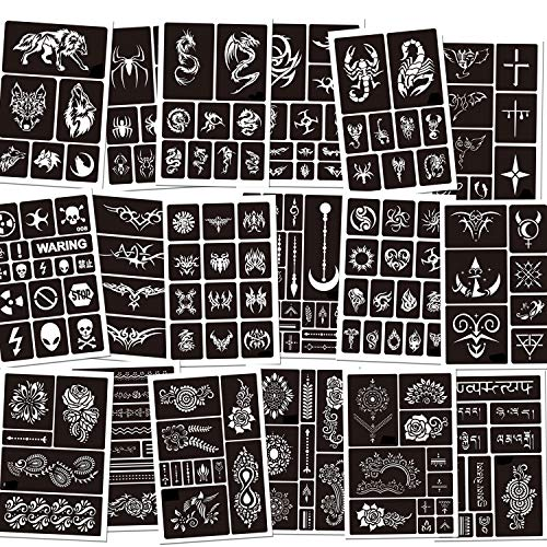 Konsait 188pcs Temporary Tattoos Stencils, Girls Boys Glitter Temporary Tattoo Template Self-adhesive Face Paint Body Art Stencil Pack for Adults Man Women Kids Teenager - Tattoo Party Supplies