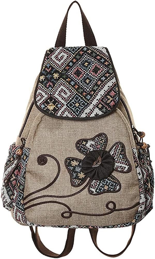 onestaring Pocket Backpack,Ethnic Colorful Embroidery Studded Tassel Backpack Shoulder Bag for Women Girls