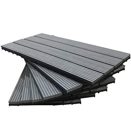 SORARA Interlocking Flooring Decking Tiles Patio Outdoor Wood Plastic  Composite Tile, 12u0026quot; X