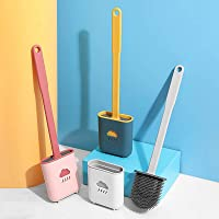Silicone Flex Toilet Brush and Holder Set, Silicone Bristles Bathroom Cleaning Bowl Brush Kit,Creative Cleaning Brush…