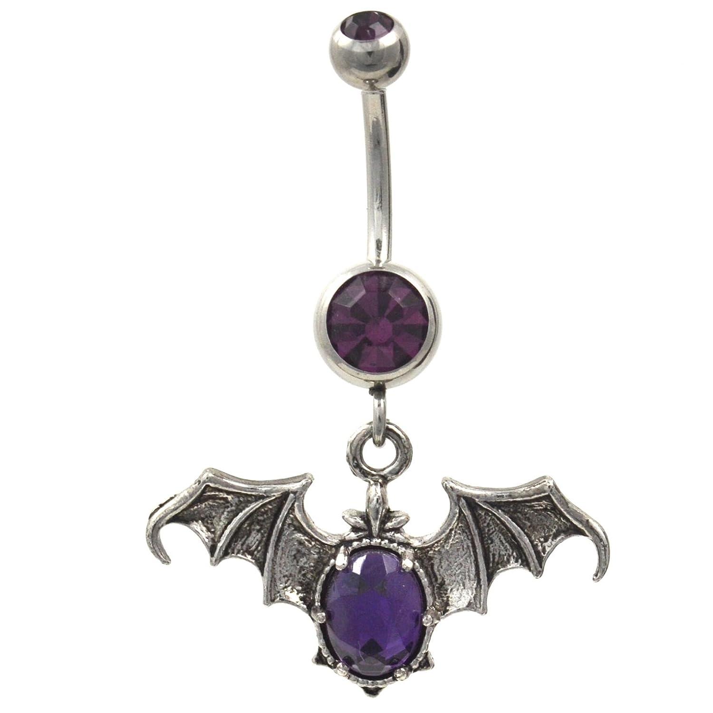 Amazon Com Gothic Style Purple Gemmed Vampire Bat Dangle Belly Ring