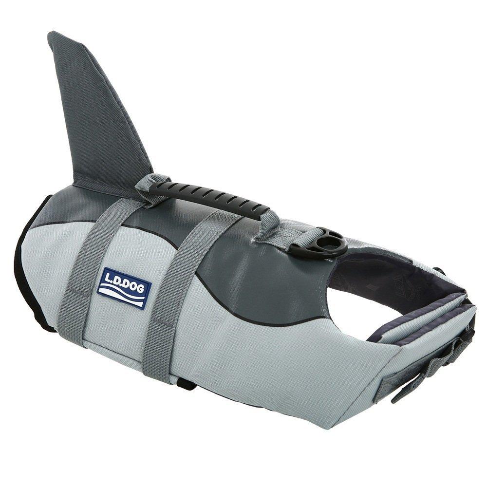 WOpet Dog Life Jacket Size Adjustable Dog Lifesaver Safety Vest (L, Grey)