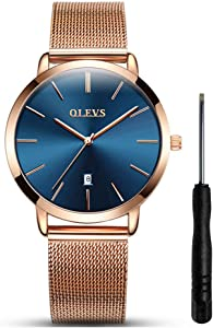 c738f5746b ENTER Fashion Women Men Luxury Mesh Strap Waterproof Quartz Dress Watch  Rose Gold Ultrathin 6.5mm Clock Stainless Steel Wristwatches with Date  Window OLEVS ...