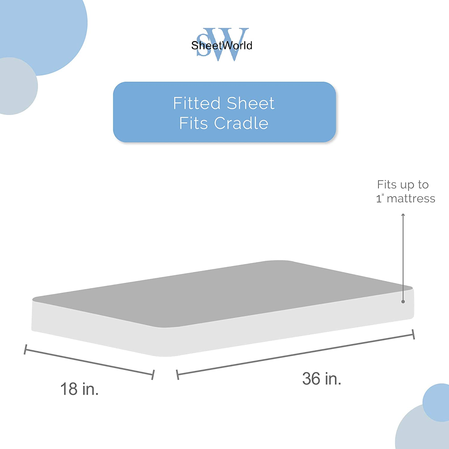 Made in USA SheetWorld Fitted 100/% Cotton Flannel Cradle Sheet 18 x 36 Doggies Aqua