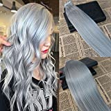 20'' 20pcs/50g Seamless Tape in Hair Extensions Sliver Grey Remy Brazilian Straight Tape on Human Hair Extensions Skin Weft Tape ins