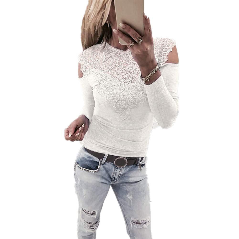 Women Fashion Long Sleeve Lace Shirt Hollow Blouse Chiffon Patchwork Top iHPH7