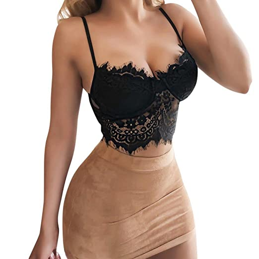 1021194e7761e Women Ladies Floral Lace Bralette Bustier Bandage Crop Top Sheer Bra Top  (XL