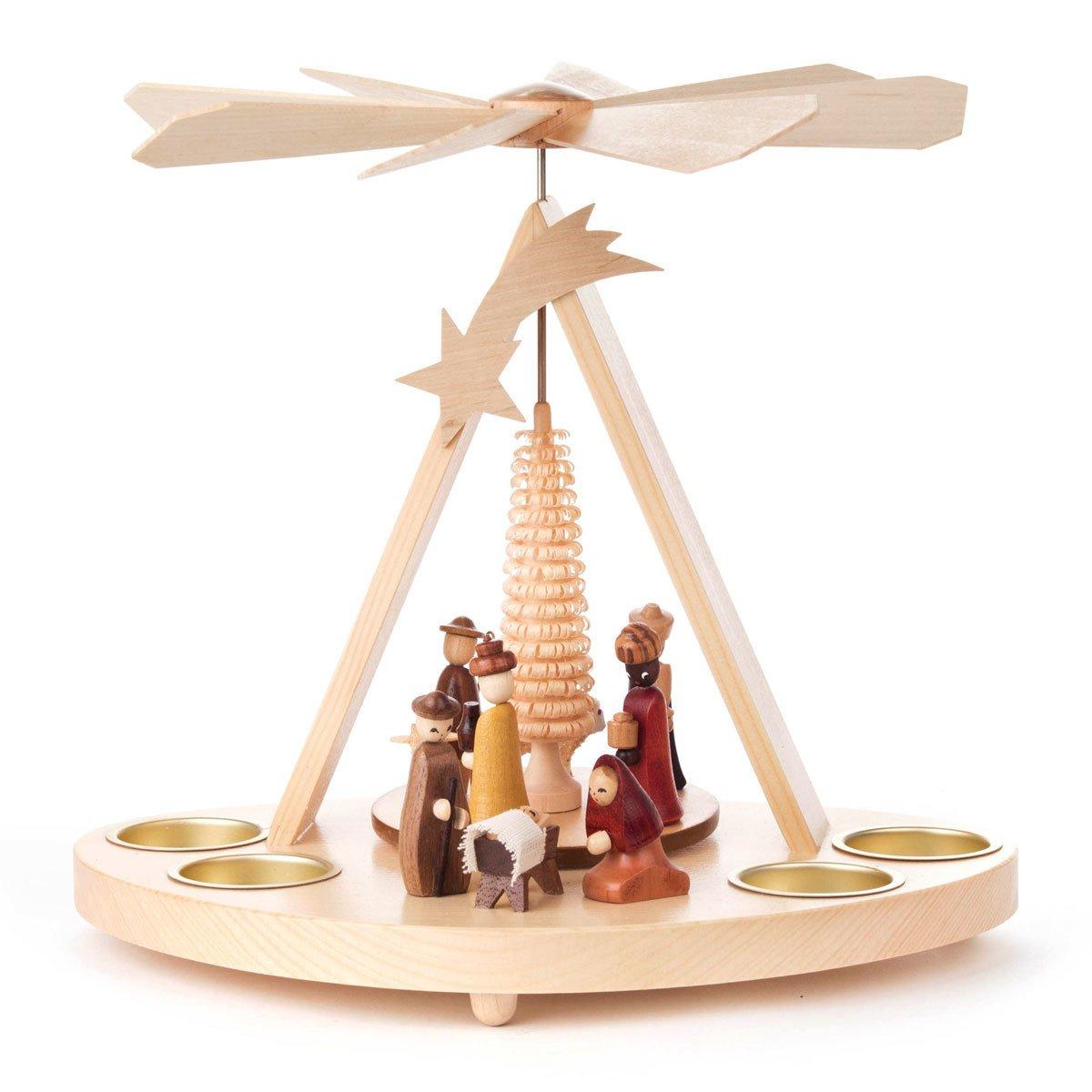 Nativity Tea Light German Pyramid - 9 3/4 Inches Tall - Christmas Carousel