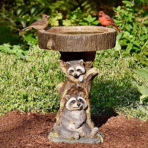 Pinkpaopao Outdoor Bird Bath Bowl, Resin Pedestal Fountain Decoration for Yard, Garden Planter Base, Feeder, Handmade Bird Bath Polyresin Antique Bird Bath for Home Garden Yard