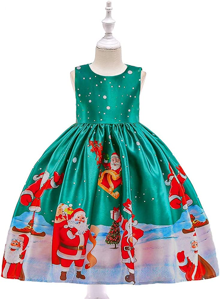 Lurryly❤Baby Girls Christmas Dresses Santa Princess Party Dress Kids Outfit Clothing 1-7T