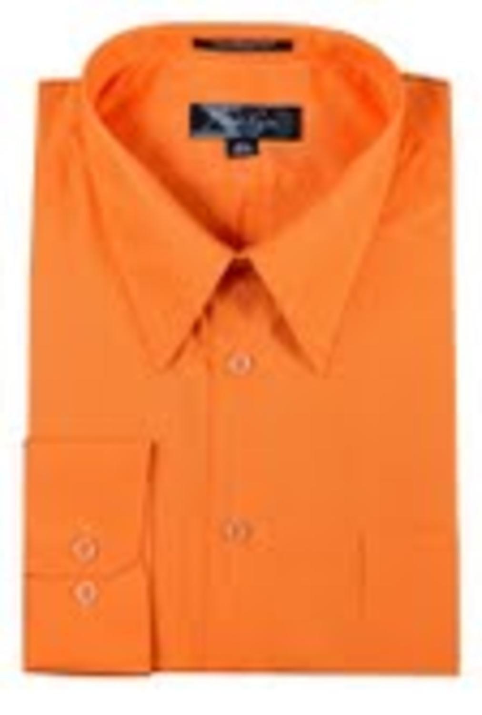 Mens Orange Button Down Long Sleeved Dress Shirt Size 20 3435