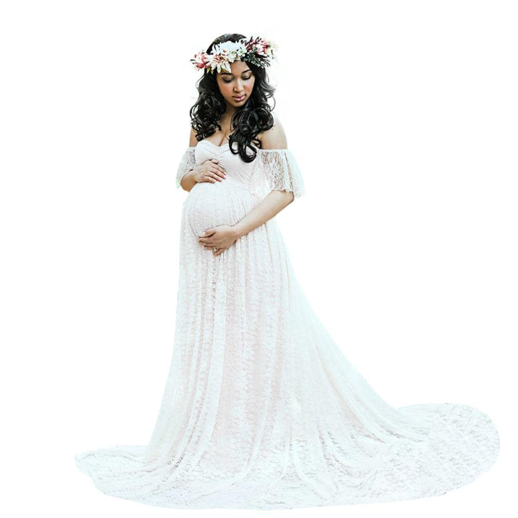Gyoume Women Maternity Dress Pregnancy Photography Dress Off Shoulder Lace Long Maxi Dress (S, White)