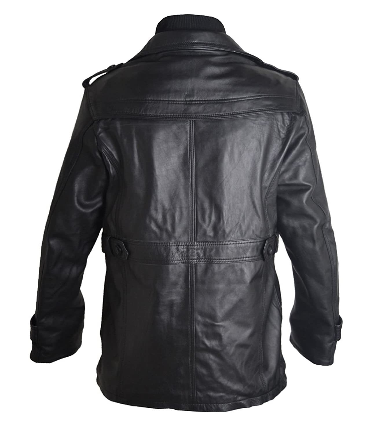 FWL Men's Double Collar Sharp Black Button Sheep Leather Jacket XXS-5XL Black